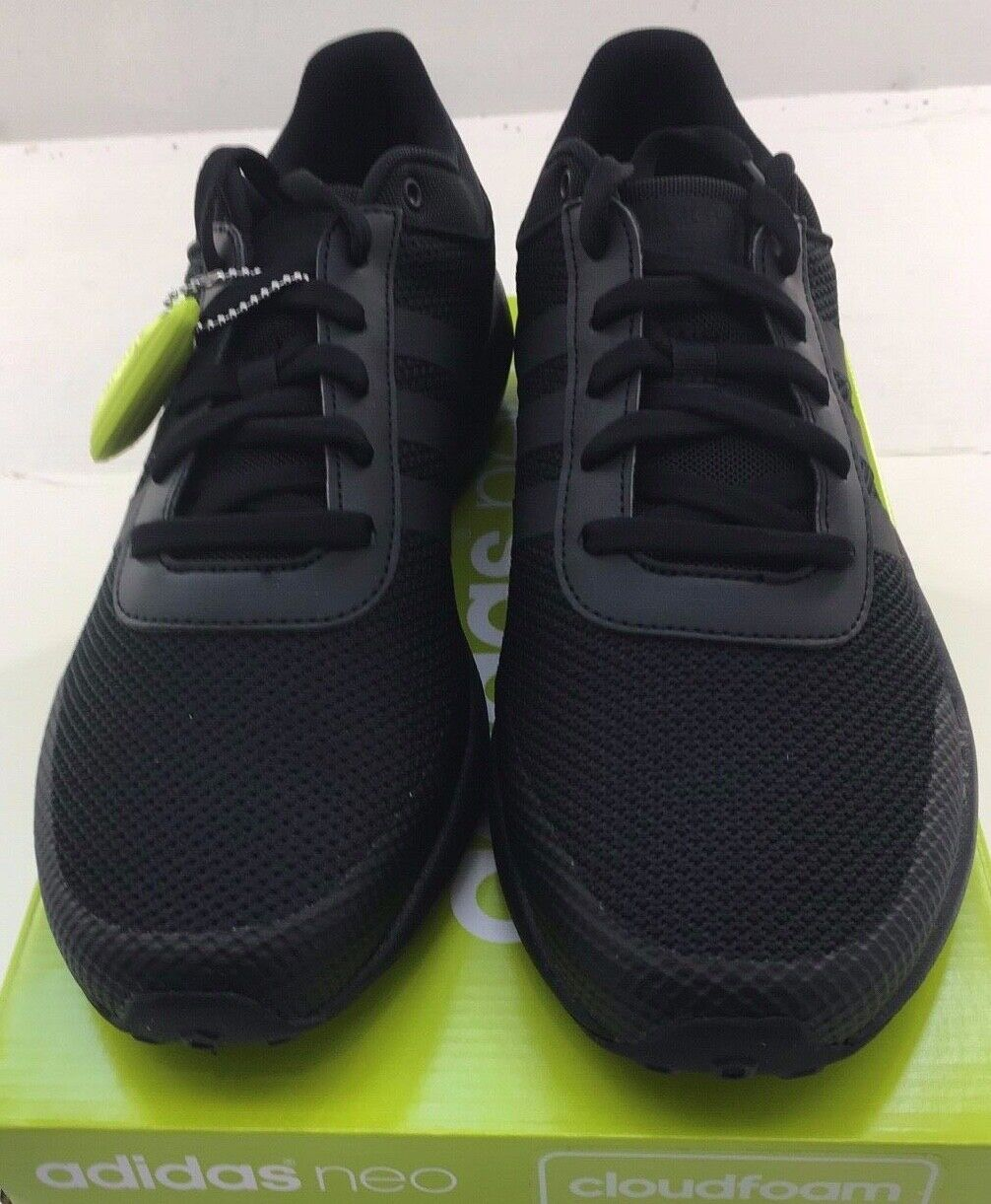 Mens Adidas NEO Cloudfoam Race Black Sneaker Athletic Sport Shoes B74372 7 14
