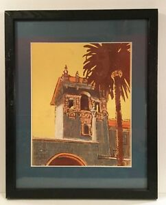 Original-art-print-Woodblock-with-pastels-San-Diego-Mission-Signed-L-Lucas
