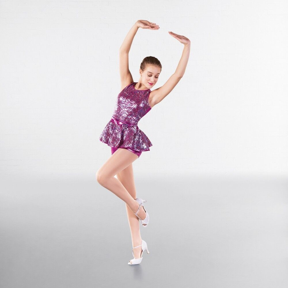 1st Position Blue Lace Sequin Dipped Hem Lyrical Dance Two Piece Costume