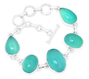 22g-Aqua-Chalcedony-925-Sterling-Silver-Bracelet-Jewelry-AQCB47