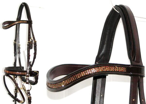 FSS Curve U CRYSTAL BROWN BLING Brass German Crank Comfort PATENT GLOSS Bridle