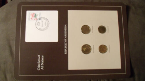 Coin Sets of All Nations Argentina w//card 50 10 5 1 Centavos 1987 UNC