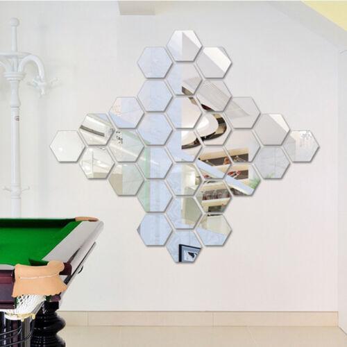 12PCS 3D Mirror Hexagon Wall Stickers DIY Vinyl Removable Decal Home Decor