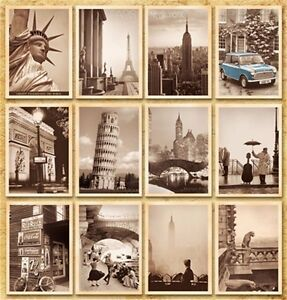 Lot-of-32-Travel-Postcard-Vintage-Photo-Leaning-Eiffel-Tower-Goddess-Big-Ben