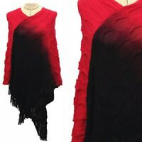 Red Black Fall Winter Poncho Hippy Fringe Cover Up Shawl Cute One Size