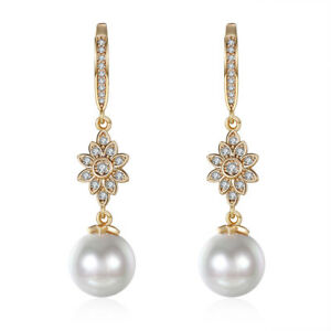 4004f9286 Image is loading 18K-Gold-Plated-Swarovski-Crystal-Snowflake-Pearl-Drop-