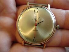 LUCH gold plated USSR vintage men's ULTRA THIN mechanical wristwatch - RARE