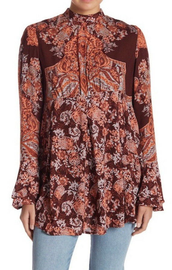 Free People OB834537 Lady Luck Printed Long Bell Sleeve Tunic Burgundy Combo