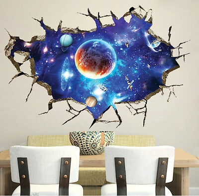 Galaxy Earth Space Moon Planet Boys Bedroom Smashed Wall Decal 3D Art Stickers