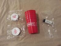 Smirnoff Cups With Earbuds Headphones And Tanqueray Glasses Cleaner Set