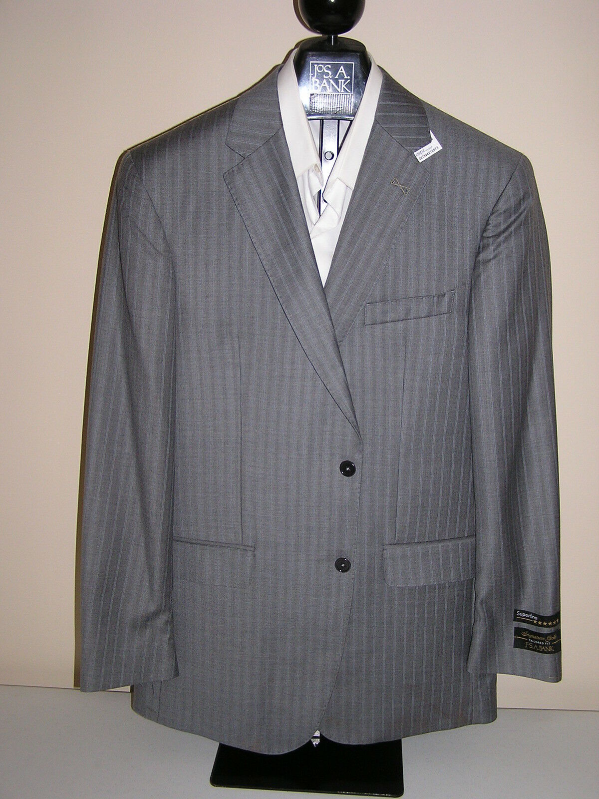 1295 new Jos A Bank Signature Gold  Grau stripe suit 42 X L 36 W tailoROT fit