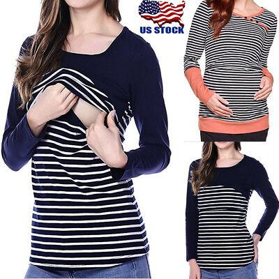 US Maternity Clothes Pregnant Women Nursing Top T-shirt Breastfeeding Clothes