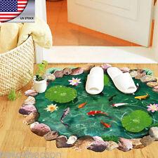 HOT 3D Removable Lotus Floor/Wall Sticker Mural Decals Vinyl Art Bath Room Decor