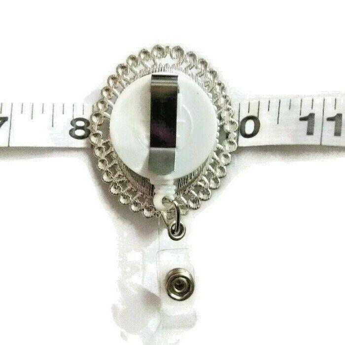 Cameo crystal resin Frida Silver id holder retractable badge reel