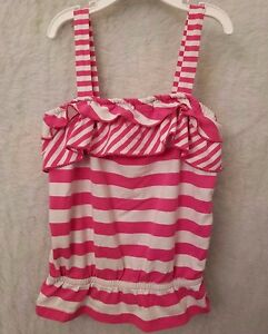 Granimals-Girls-Pink-White-Striped-With-Ruffles-Shirt-Top-Blouse-Size-5T