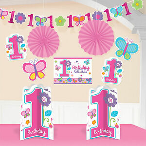 Details About 10 Piece Sweet Pink Butterfly Girls Happy 1st Birthday Party Decorating Kit