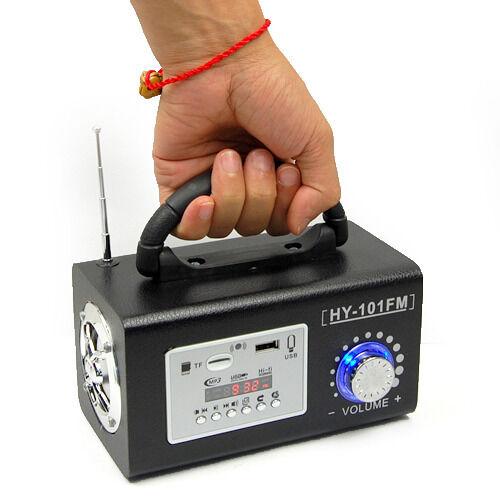Mini Portable Wooden Bass Stereo FM Radio Speaker MP3 Music Player USB TF Remote