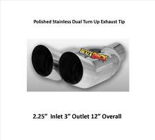 Brand New Polished Stainless Round Turn-Up Dual Slant Exhaust Tip