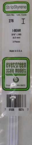"3 Pieces .3//16/"" I Beam Evergreen Strip Styrene 276"