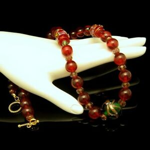 Vintage-Chunky-Red-Glass-Beads-Necklace-Wedding-Cake-Cane-Green-Crystals