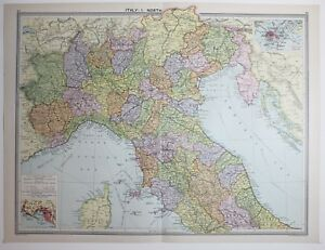 Large Map Of Italy.Details About 1920 Large Map Italy North Genova Elba Umbria Verona Treviso