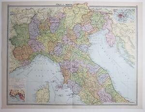 1920 LARGE MAP ITALY NORTH GENOVA ELBA UMBRIA VERONA TREVISO eBay