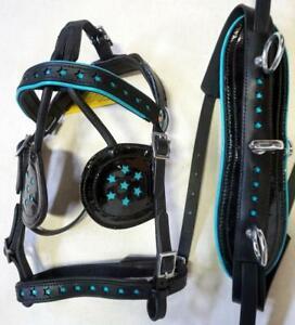 BLUE Black Synthetic MINI SHETLAND PONY Driving training cart harness Back In