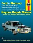 Ford and Mercury Full-size Models, 1975-87 V8 Engines Owner's Workshop Manual by Chaun Muir, J. H. Haynes (Paperback, 1988)