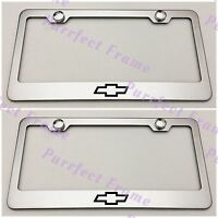 2x Chevrolet Chevy Bow Tie Stainless Steel License Plate Frame Rust Free W/caps