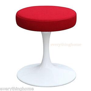 Tulip-Dining-Stool-Chair-Red-Fabric-Eero-Saarinen-Style-White-16-034-Height-Modern