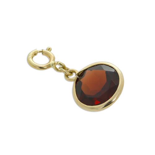375 Real 9ct amarillo oro y rojo granate CZ Cristal Redondo clip en encanto encantos