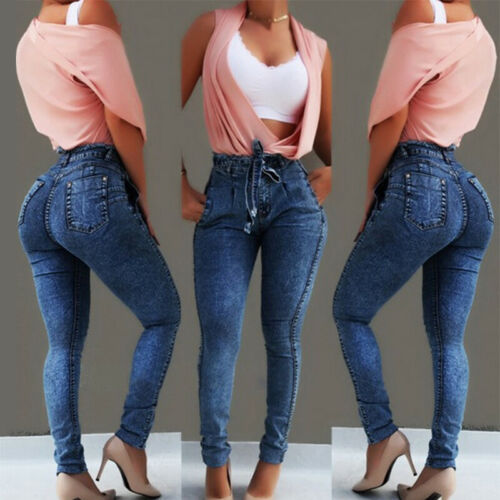 Plus Size Women Denim Jeans High Waisted Stretchy Skinny Jegging Trousers Pants