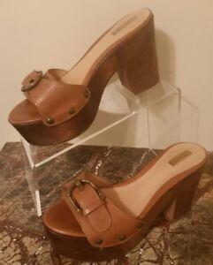 Slides Wood Platform Sandals High Heel