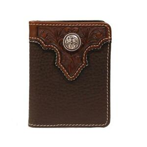 Ariat Western Mens Wallet Leather Tooled Overlay Bifold