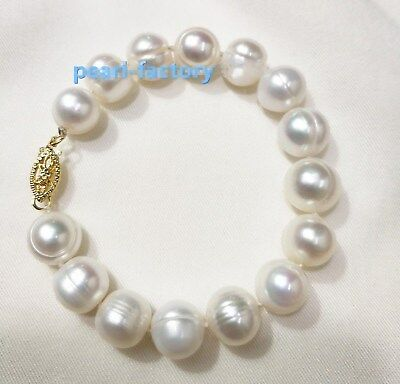 Natural 9-10mm South Sea Genuine White Pearl Bracelet 14k Gold Clasp