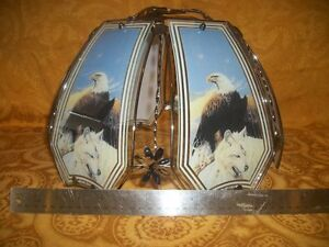 """Beautiful VINTAGE Eagle/Wolf Touch Lamp Shade 14"""" Diameter"""