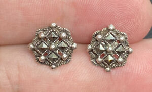 Vintage-Sterling-Silver-925-amp-Marcasite-Studded-Post-Pierced-Earrings