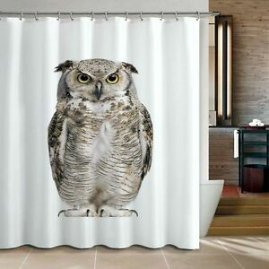 Image Is Loading Cute Lively Owl Bathroom Fabric Shower Curtain Free