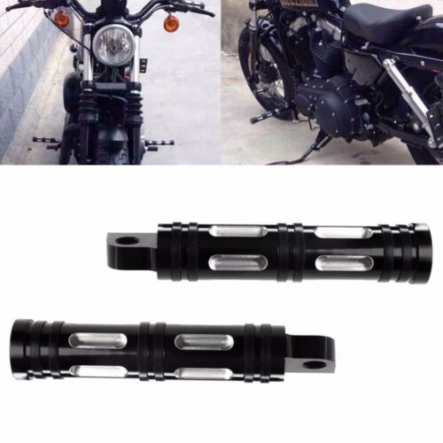 Black Edge Cut Front Rear Foot Pegs For Harley Davidson Sportster Softail DYNA