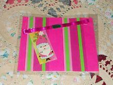 VTG CHRISTMAS WRAPPING PAPER GIFT WRAP SET KIT TAG RIBBON PINK GREEN RED STRIPE