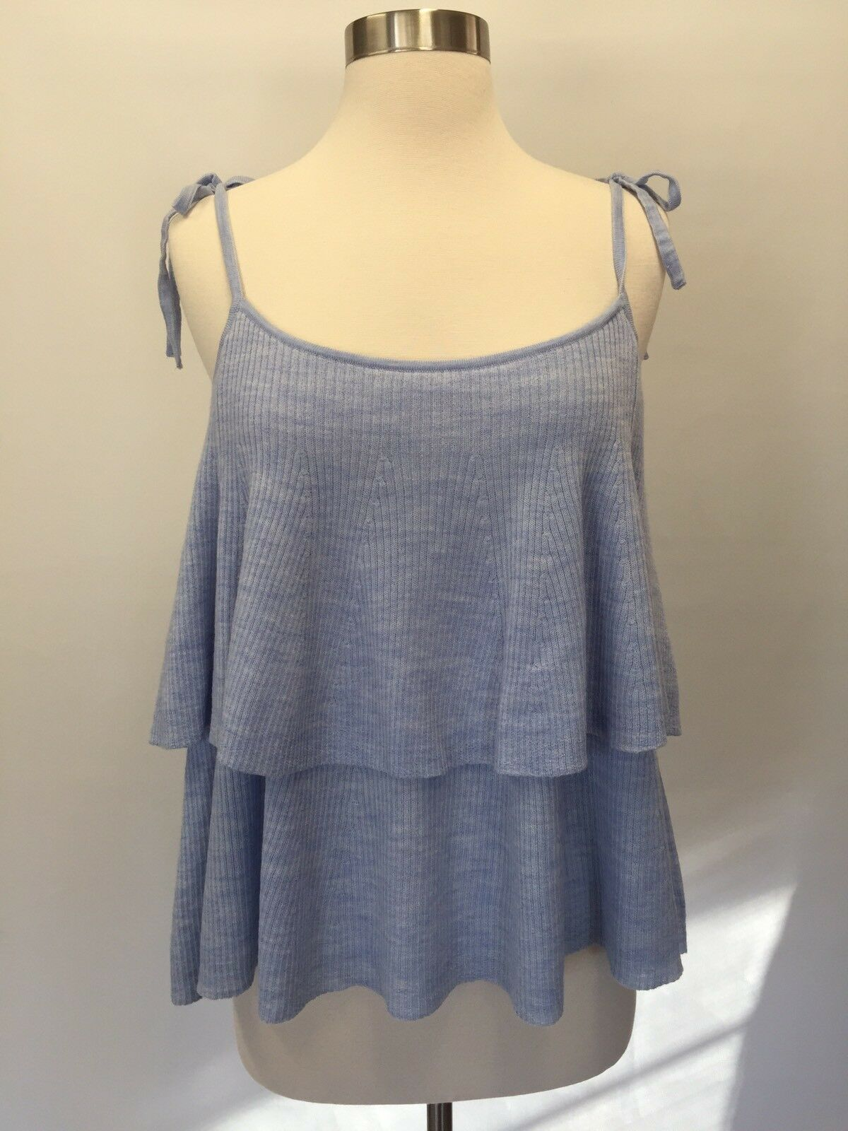 New J Crew Tierot Top in Merino Wool Hthr Breeze Sz XL Blau G5694