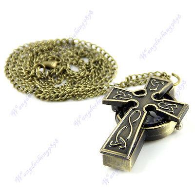 Retro Antique Bronze Cross Style Pendant Quartz Pocket Watch Necklace Chain Gift