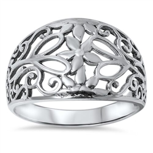 .925 Sterling Silver Filigree Band Plain Ring - Sizes 5 6 7 8 9 10 NEW