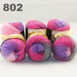 Sale-New-6-Skeins-x50gr-Rainbows-Multicolor-Hand-Knit-Wool-Yarn-Wrap-Scarves-02