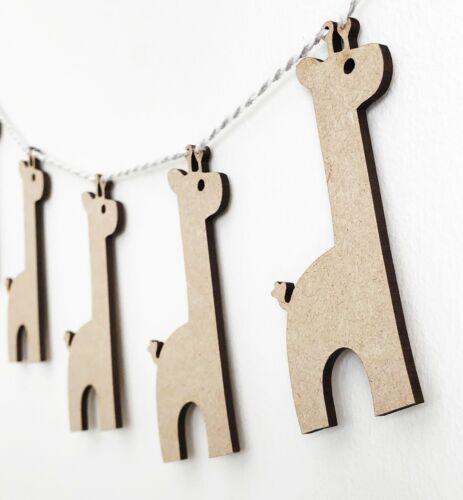 Wooden Bunting Giraffe Flags Nursery Craft Garland Blanks MDF Wood Shapes 3mm