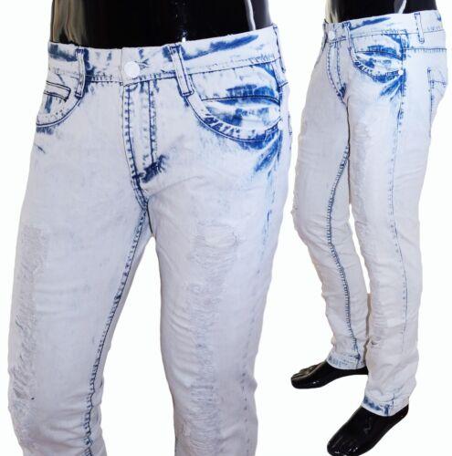 JEANS Uomo Pantaloni senza tempo potenti NUOVO Clubwear squarciato Destroyed Jeans A Sigaretta