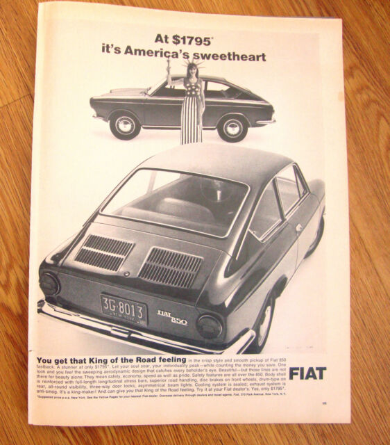 1968 Fiat 850 Ad   At $1795 It's America's Sweetheart