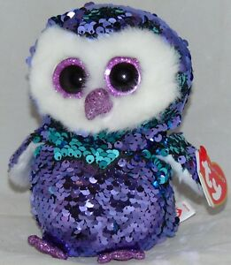 "HOT NEW TOY! TY FLIPPABLES MOONLIGHT the Owl Changing Sequins 6"" HTF"