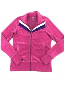 Details about Nike The Athletic Department Womens Pink Purple Velour Track Jacket Size M Zip