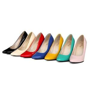 Ladies-Pointed-Shiny-Patent-Leather-Stiletto-High-Heel-Party-Pumps-Shoes-AU-Size